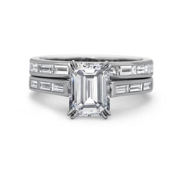 Natural 2.42 CTW Channel Set Baguettes & Emerald Cut Diamond Ring 18KT White Gold