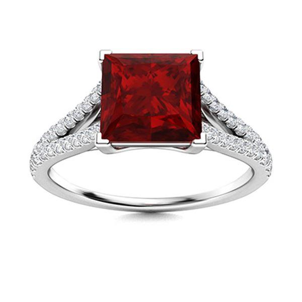 Natural 1.26 CTW Garnet & Diamond Engagement Ring 14K White Gold