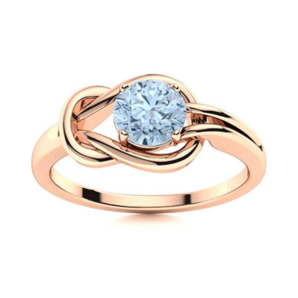 Natural 0.42 CTW Aquamarine Solitaire Ring 18K Rose Gold