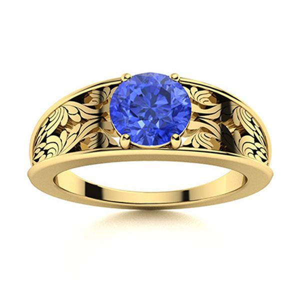 Natural 1.02 CTW Ceylon Sapphire Solitaire Ring 18K Yellow Gold