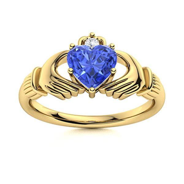 Natural 0.61 CTW Ceylon Sapphire & Diamond Engagement Ring 14K Yellow Gold