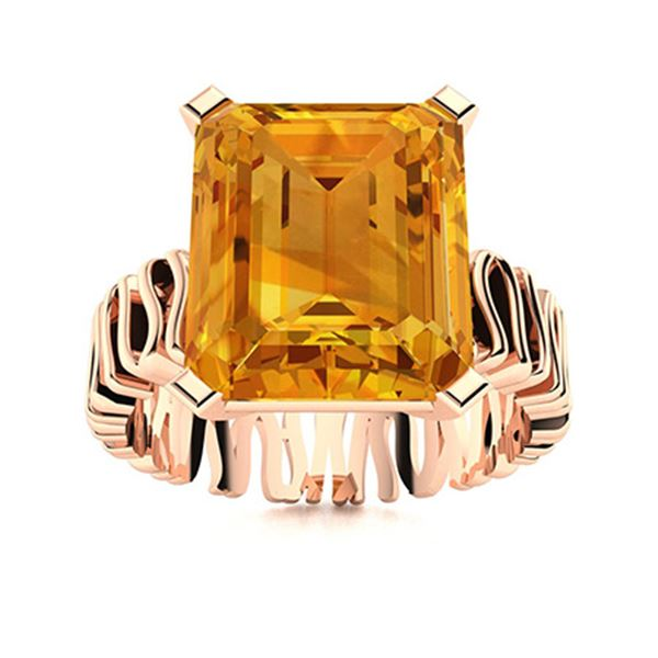 Natural 4.94 CTW Citrine Solitaire Ring 14K Rose Gold