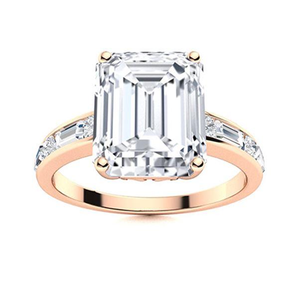 Natural 5.50 CTW Topaz & Diamond Engagement Ring 18K Rose Gold