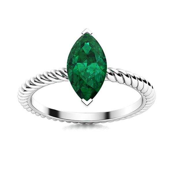 Natural 1.60 CTW Emerald Solitaire Ring 18K White Gold