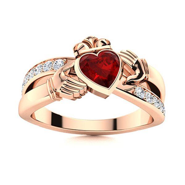 Natural 0.80 CTW Garnet & Diamond Engagement Ring 14K Rose Gold