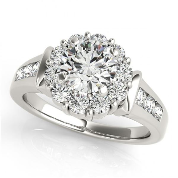 Natural 1.9 ctw Diamond Solitaire Halo Ring 14k White Gold