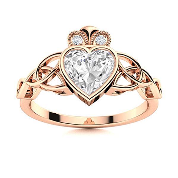 Natural 1.53 CTW Topaz & Diamond  Engagement Ring 18K Rose Gold