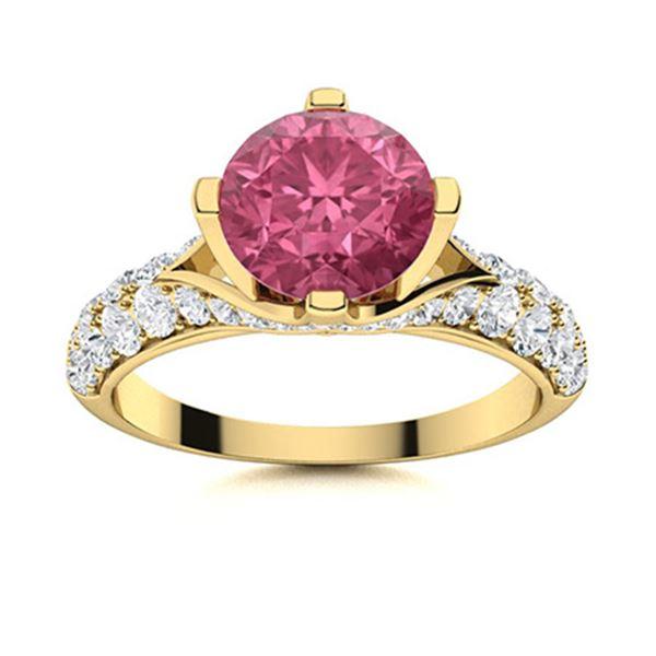 Natural 1.87 CTW Tourmaline & Diamond Engagement Ring 14K Yellow Gold