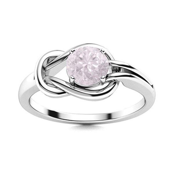 Natural 1.05 CTW Rose Quartz Solitaire Ring 14K White Gold