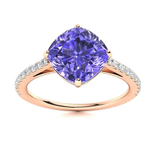 Natural 3.71 CTW Tanzanite & Diamond Engagement Ring 14K Rose Gold
