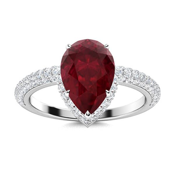 Natural 2.84 CTW Ruby & Diamond Engagement Ring 18K White Gold