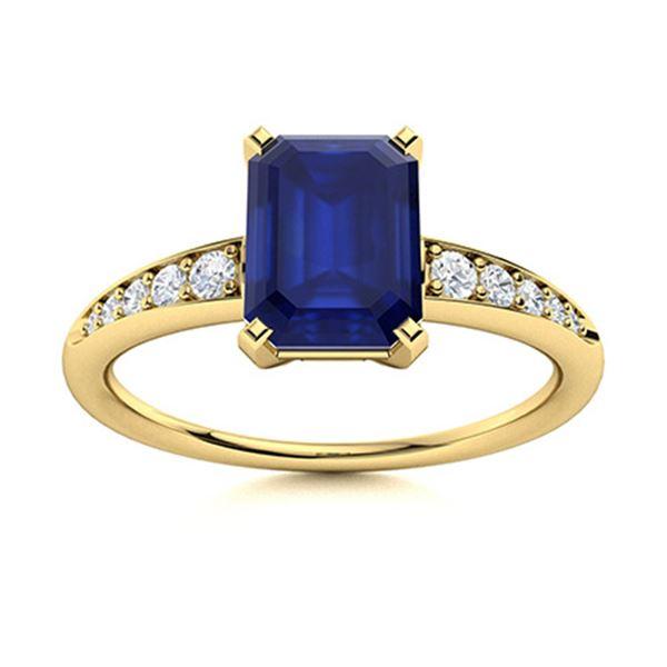 Natural 4.04 CTW Sapphire & Diamond Engagement Ring 14K Yellow Gold