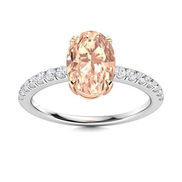 Natural 3.52 CTW Morganite & Diamond Engagement Ring 18K White Gold