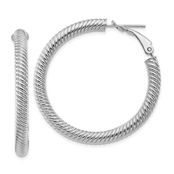10k White Gold Twisted Round Omega Back Hoop Earrings - 4x30 mm