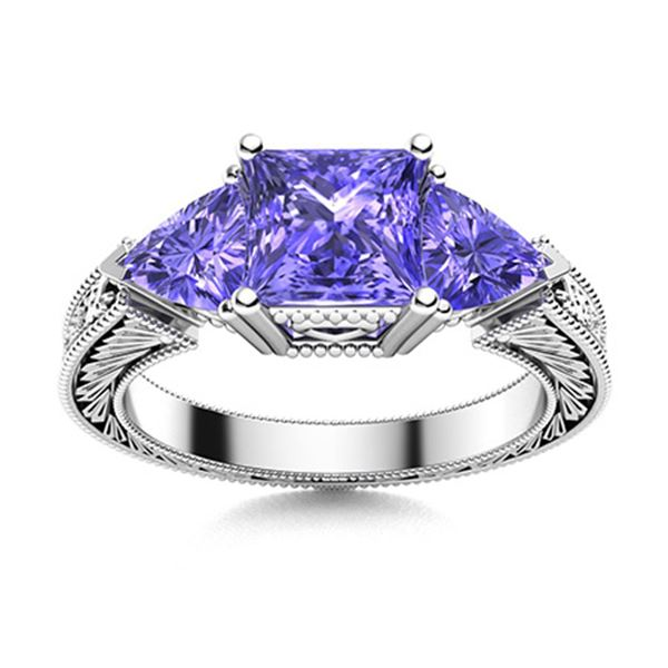 Natural 1.94 CTW Tanzanite Solitaire Ring 14K White Gold