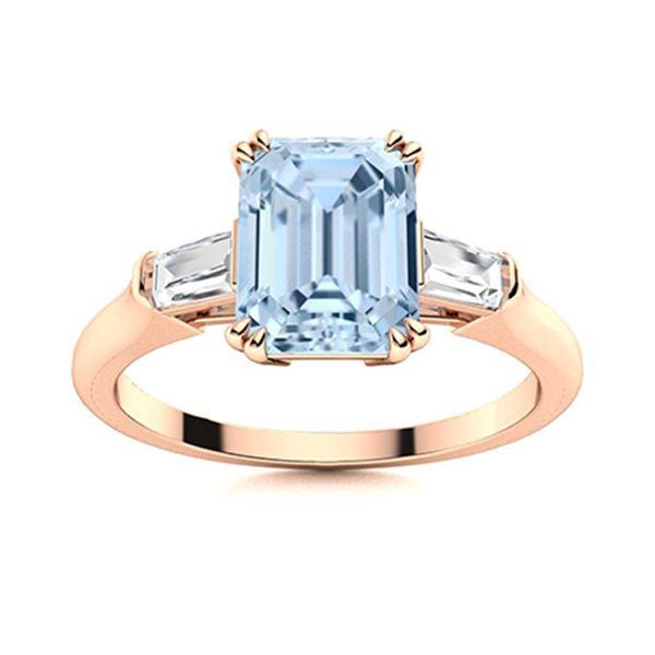 Natural 2.78 CTW Aquamarine & Diamond  Engagement Ring 14K Rose Gold