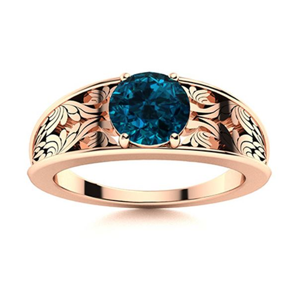 Natural 0.61 CTW Topaz Solitaire Ring 14K Rose Gold