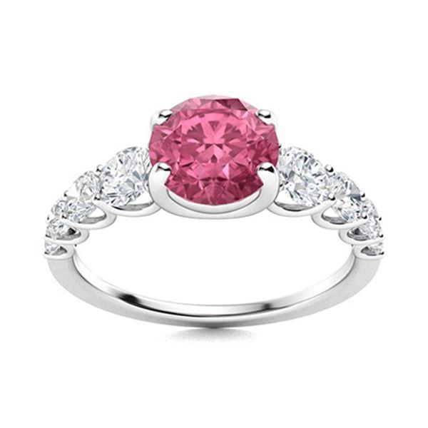 Natural 1.78 CTW Tourmaline & Diamond Engagement Ring 18K White Gold