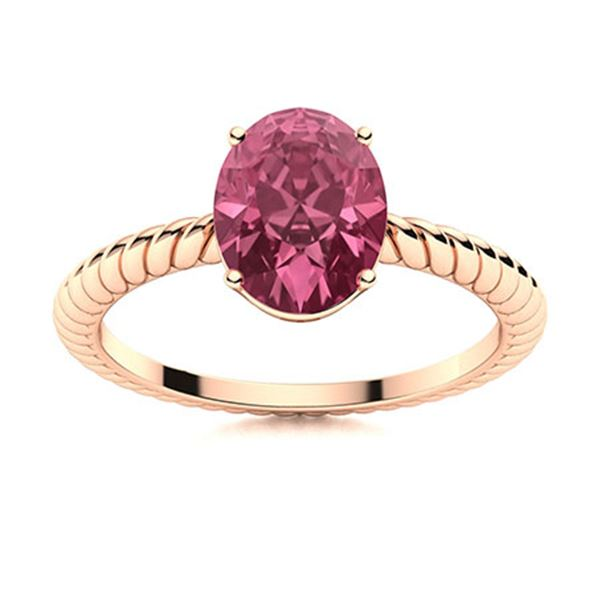 Natural 2.03 CTW Tourmaline Solitaire Ring 14K Rose Gold