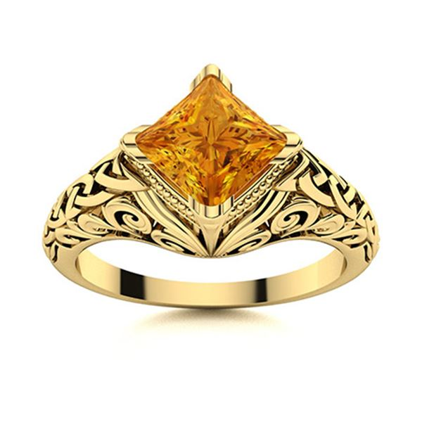 Natural 0.50 CTW Citrine Solitaire Ring 14K Yellow Gold