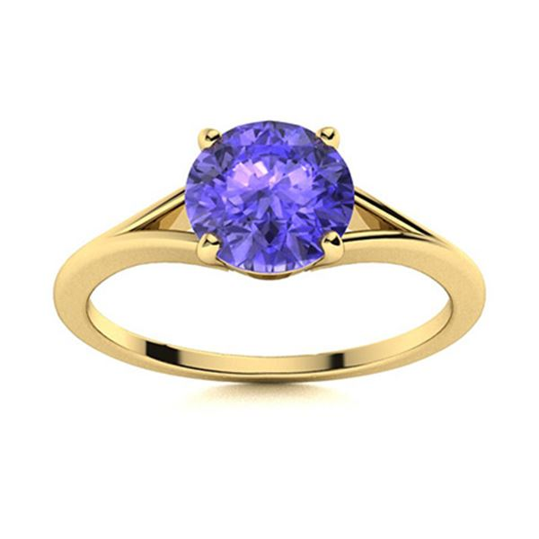 Natural 1.06 CTW Tanzanite Solitaire Ring 18K Yellow Gold
