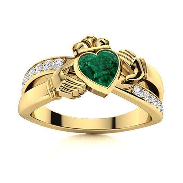 Natural 0.70 CTW Emerald & Diamond Engagement Ring 18K Yellow Gold