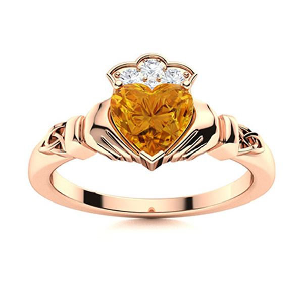 Natural 0.73 CTW Citrine & Diamond Engagement Ring 14K Rose Gold