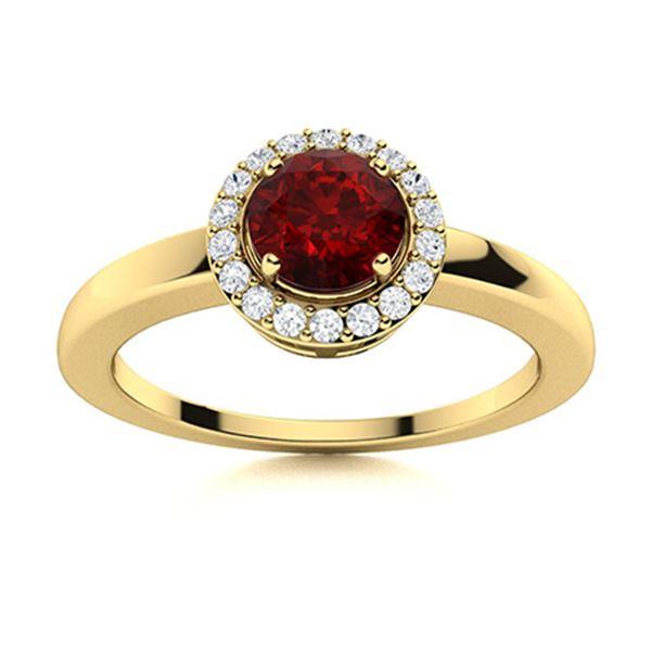 Natural 0.53 CTW Garnet & Diamond Engagement Ring 18K Yellow Gold