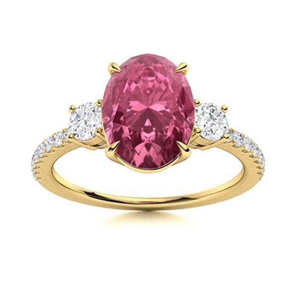 Natural 2.92 CTW Tourmaline & Diamond Engagement Ring 14K Yellow Gold