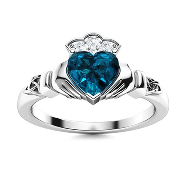 Natural 1.64 CTW Topaz & Diamond Engagement Ring 18K White Gold