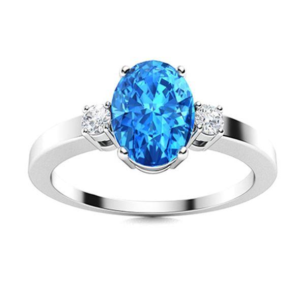 Natural 1.19 CTW Topaz & Diamond  Engagement Ring 14K White Gold