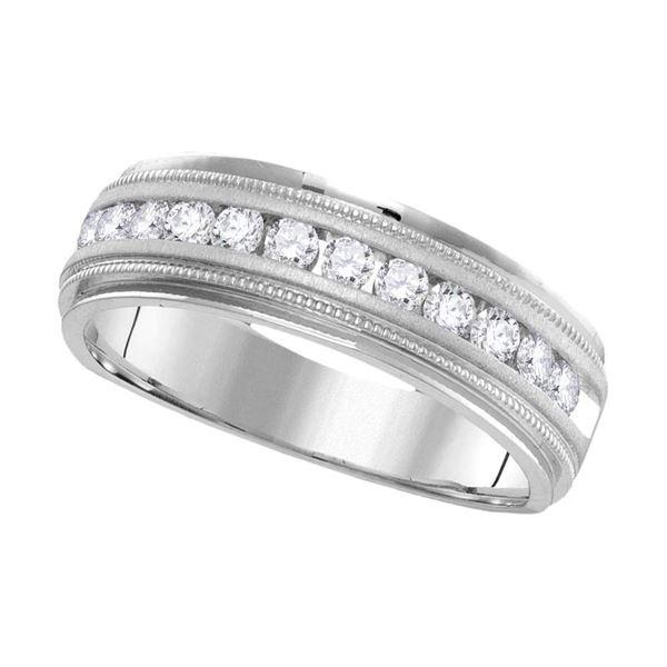 14kt White Gold Mens Round Diamond Wedding Single Row Band Ring 1 Cttw