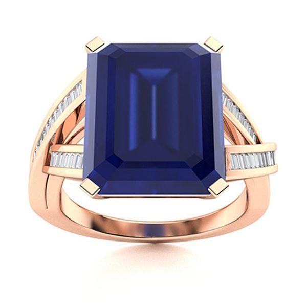 Natural 5.96 CTW Sapphire & Diamond Engagement Ring 14K Rose Gold
