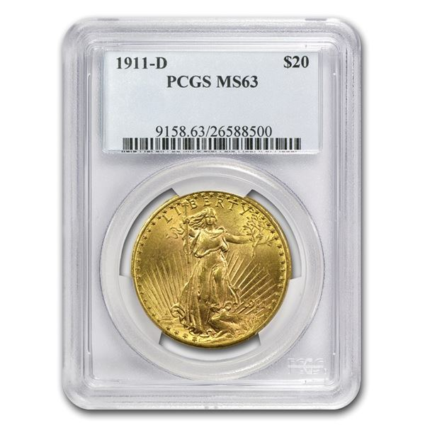 1911-D $20 Saint-Gaudens Gold Double Eagle MS-63 PCGS