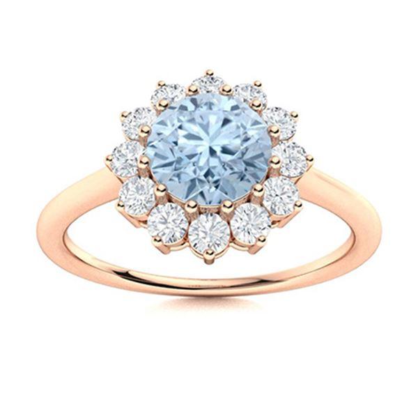 Natural 1.07 CTW Aquamarine & Diamond  Engagement Ring 14K Rose Gold