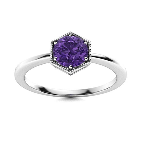 Natural 0.42 CTW Amethyst Solitaire Ring 18K White Gold