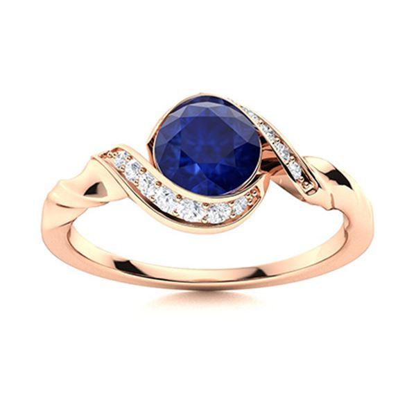 Natural 0.89 CTW Sapphire & Diamond Engagement Ring 14K Rose Gold