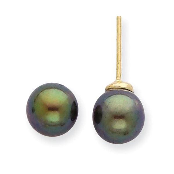 14k 7-8 mm Black Akoya Cultured Pearl Stud Earrings