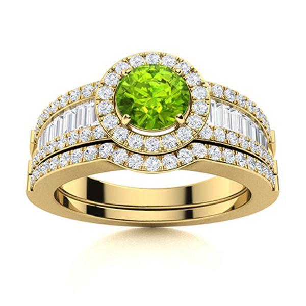 Natural 1.38 CTW Peridot & Diamond Engagement Ring 14K Yellow Gold
