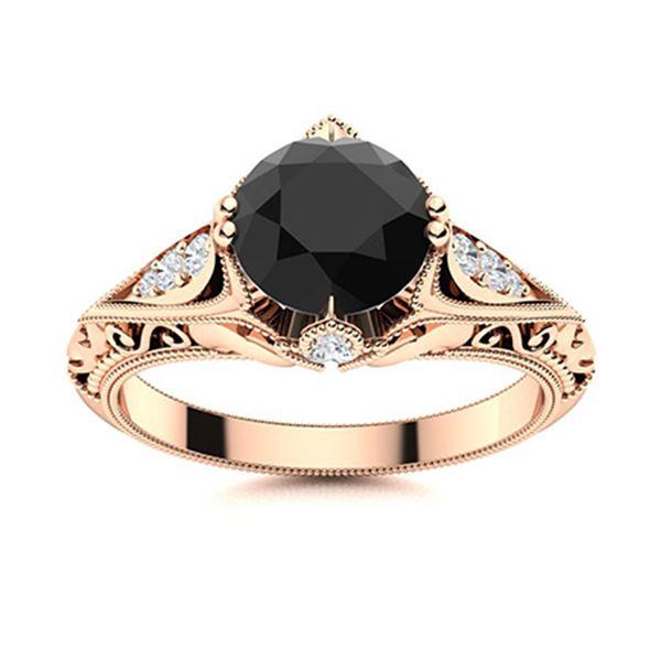 Natural 0.83 CTW Onyx & Diamond Engagement Ring 14K Rose Gold