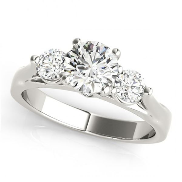 Natural 1.25 ctw Diamond 3 Stone Ring 14k White Gold