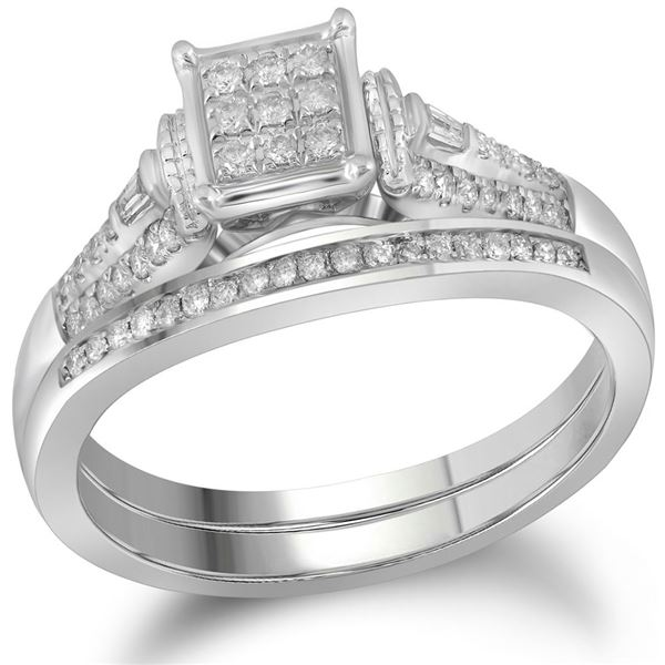14kt White Gold Round Diamond Bridal Wedding Ring Band Set 1/5 Cttw
