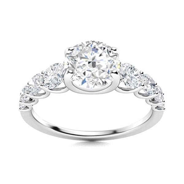 Natural 1.74 CTW Diamond Solitaire Ring 18K White Gold