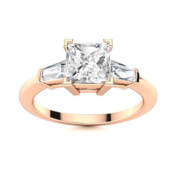 Natural 1.60 CTW Topaz & Diamond  Engagement Ring 14K Rose Gold