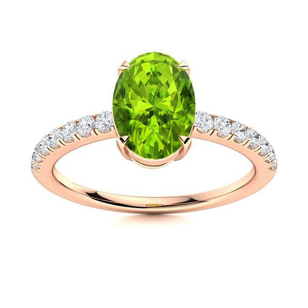 Natural 1.45 CTW Peridot & Diamond Engagement Ring 14K Rose Gold