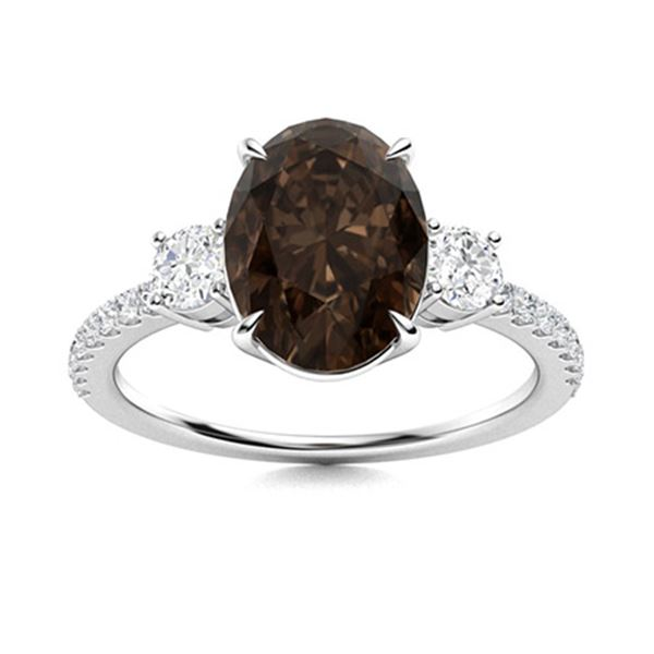 Natural 4.42 CTW Smoky Quartz & Diamond Engagement Ring 14K White Gold