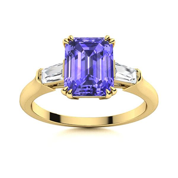Natural 1.64 CTW Tanzanite & Diamond Engagement Ring 14K Yellow Gold