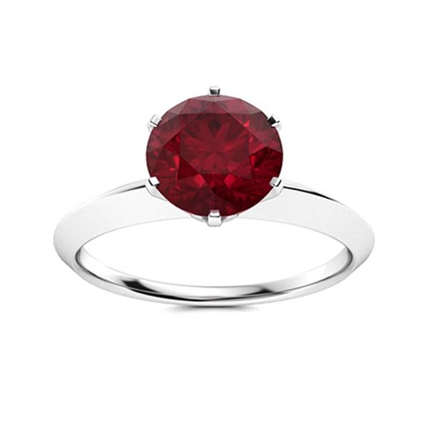 Natural 1.02 CTW Ruby Solitaire Ring 14K White Gold