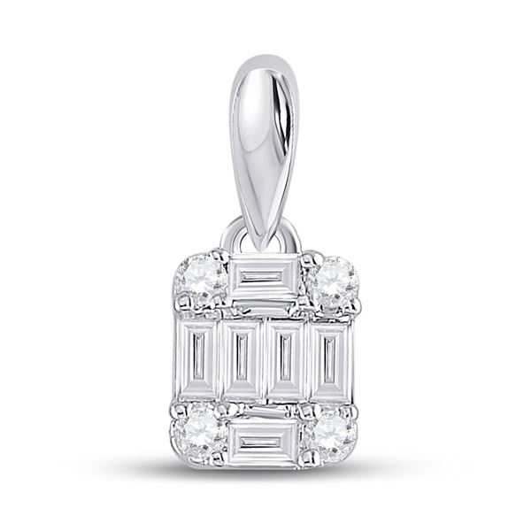 14kt White Gold Womens Baguette Diamond Fashion Cluster Pendant 1/5 Cttw