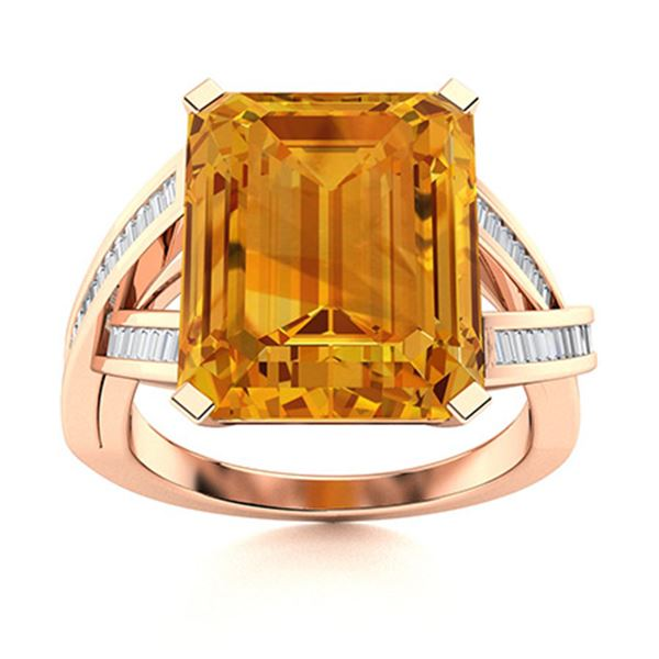 Natural 3.02 CTW Citrine & Diamond Engagement Ring 18K Rose Gold